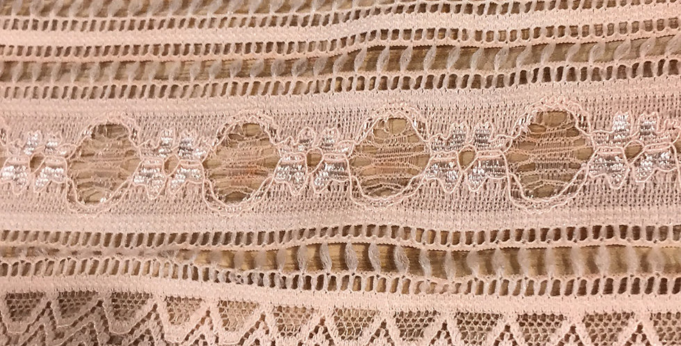 Peach Garland Hand Dyed Stretch Lace....