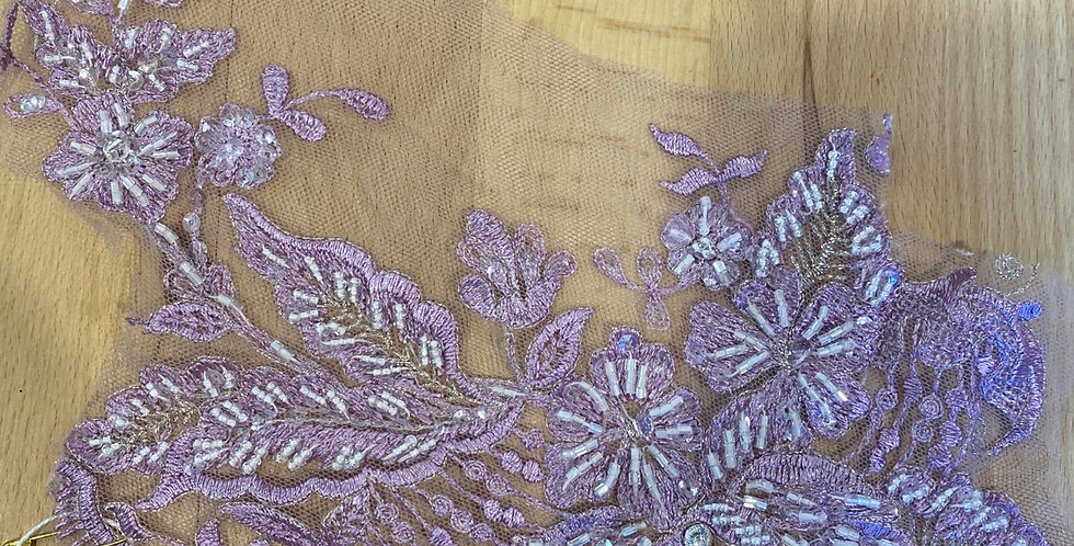 mauve hand beaded motif piece #6015