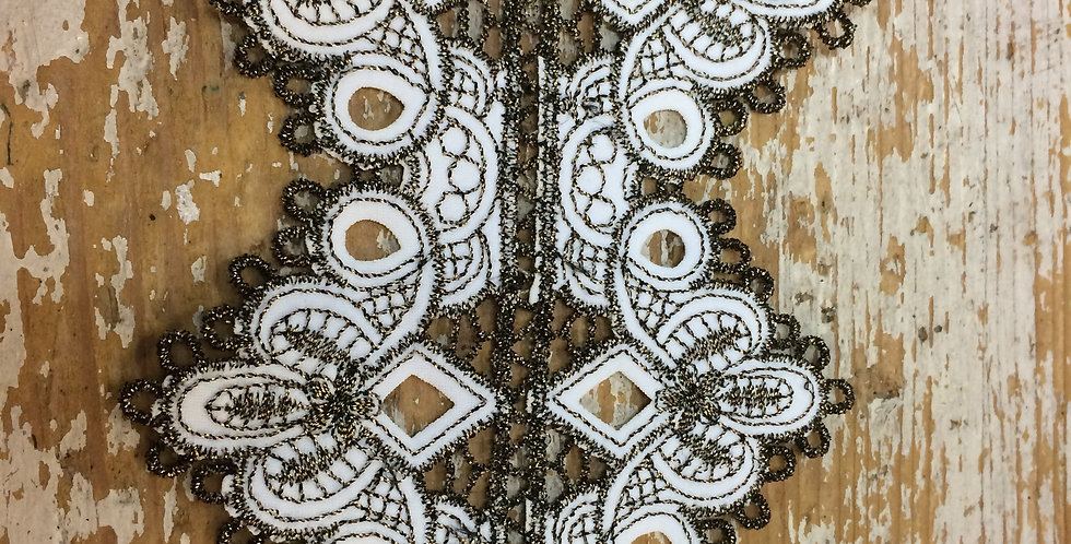 Ornate embroidered gold and white lycra trim