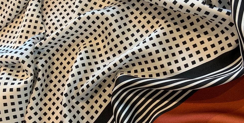 Retro Grid Polyester Stretch Satin...