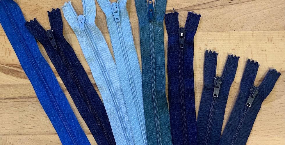 8 Assorted Blue Zips...