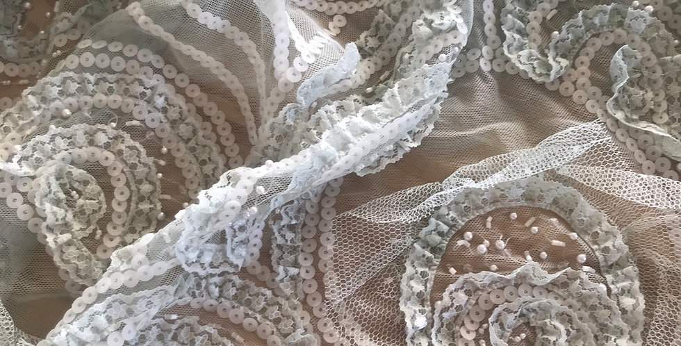 Dusty duck egg lace piece #20