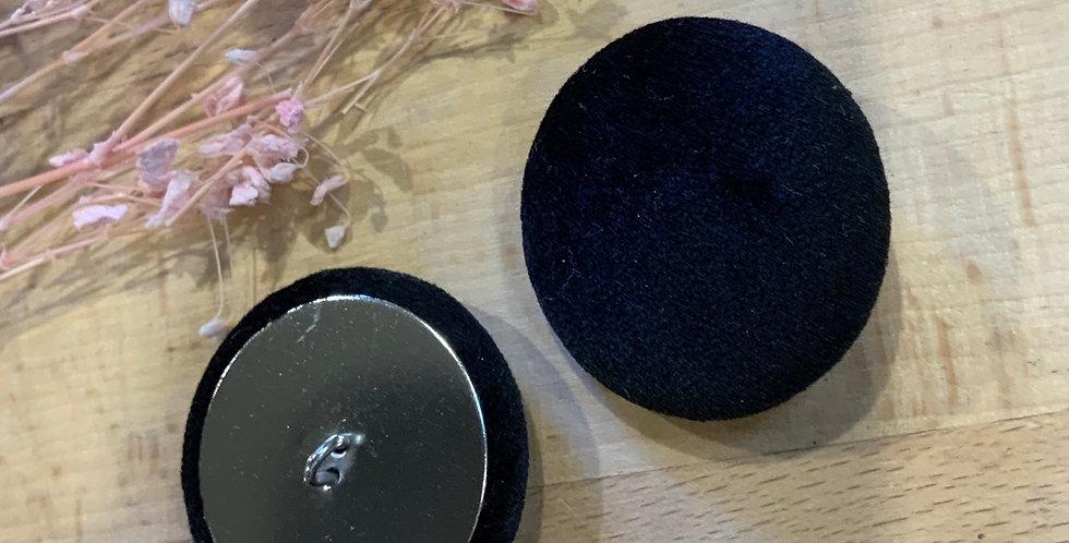 2 Black Velvet Cover Buttons