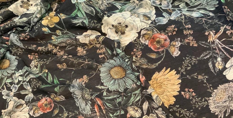Lady McElroy BOTANICAL DARK NAVY Linen Look Jersey…
