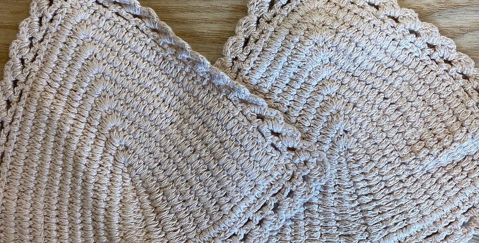 natural cotton crochet bikini triangles
