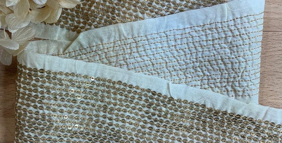 Piper Micro Sequin Silk Cotton Insertion Trim...