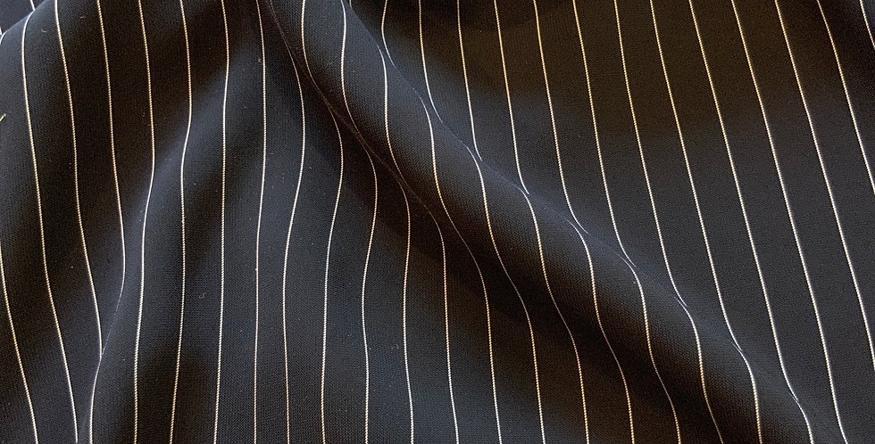 Navy Pinstripes Wallstreet Polyester suiting Remnant