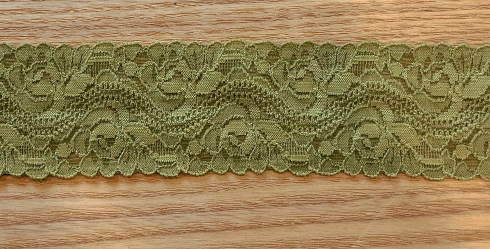 Olive Green Hand Dyed Stretch Lace...