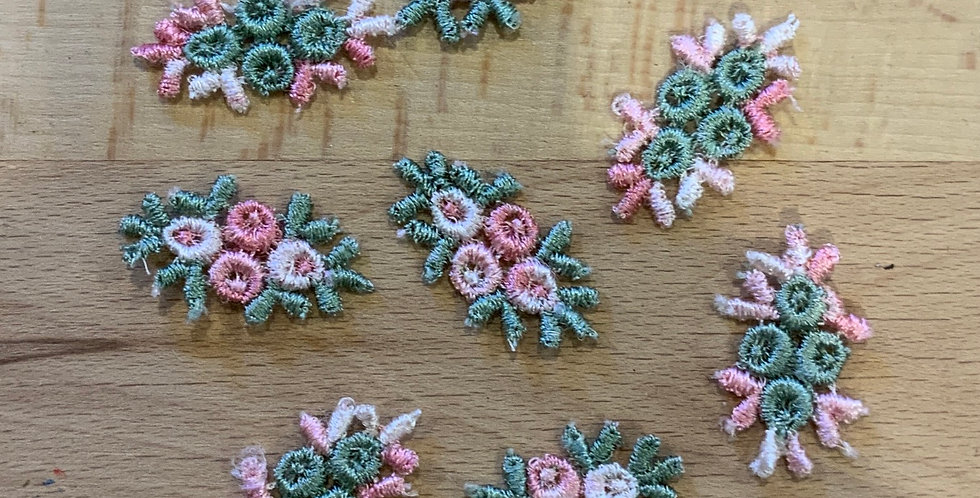 8 Vintage Embroidered Floral Lingerie Embellishments