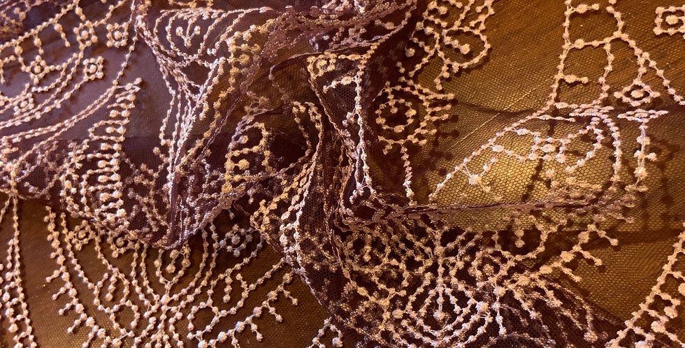 Maroon Embroidered Mesh Lace Piece...