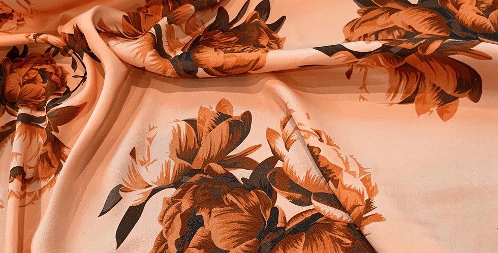 Peach Bouquet De Lustred Viscose Satin