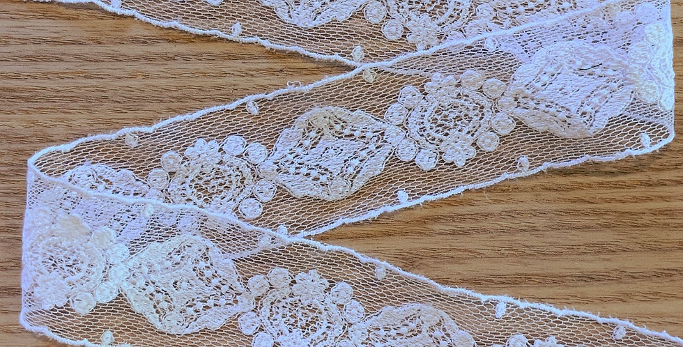 Poppy Fine Cream Embroidered Mesh Trim...