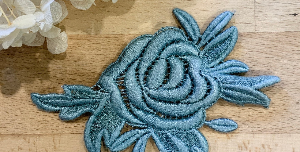 Teal Hand Dyed Guipure Rose Motif