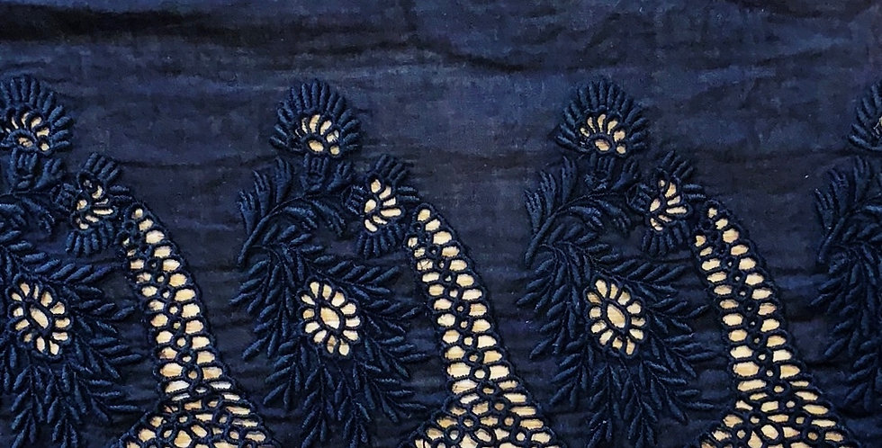 Black Silk Cotton Wide Broderie