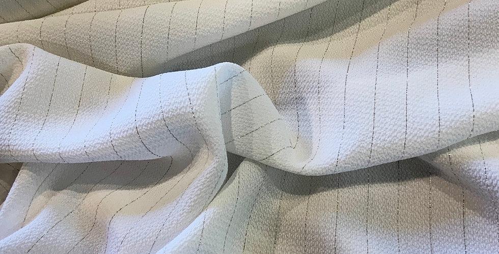 Ivory Shimmer Pinstripe Crepe Remnant