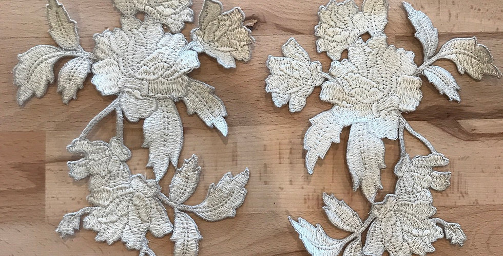Natural Rose Embroidered Motif pair