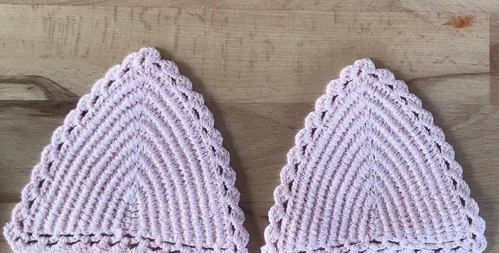 Pale pink crochet bikini triangles