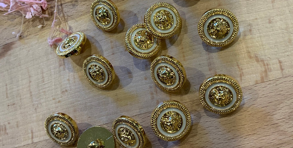 15 Gold and White Plastic Buttons