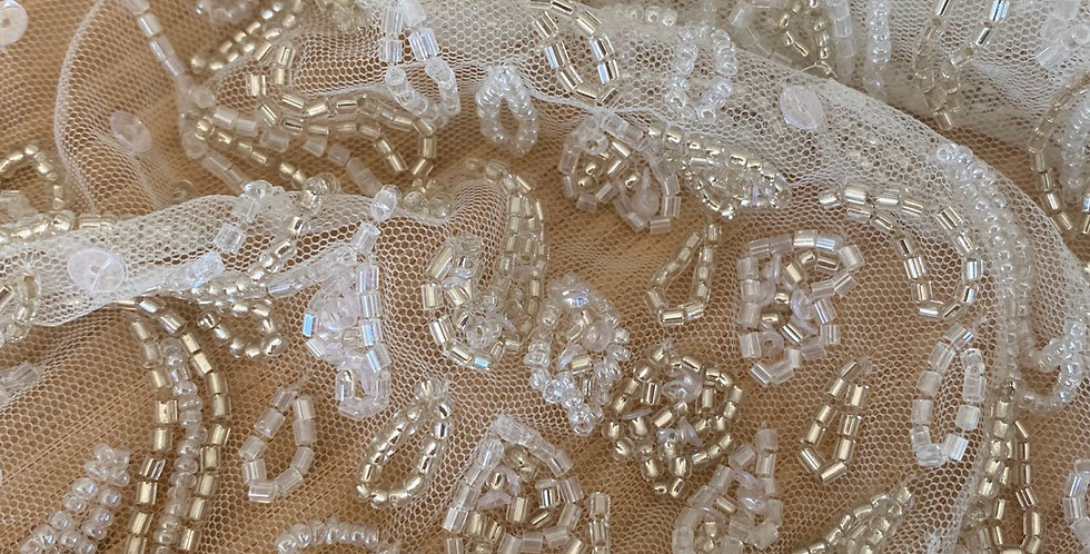 Silver trail beaded tulle piece A4