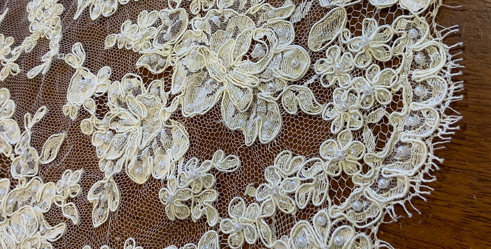 Ivory Hand Beaded Lace Piece D10...