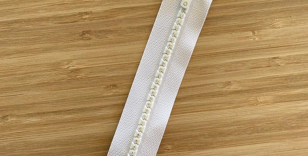 20cm white diamanté tooth zip
