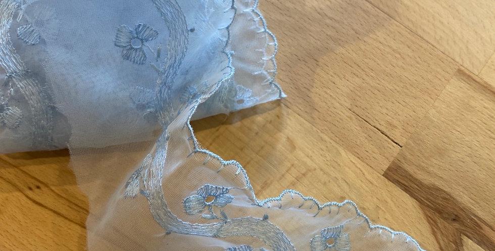 12mtr bundle poppy fields blue vintage 1950's embroidered organza trim