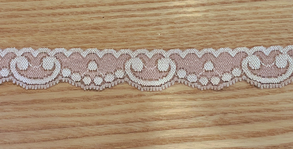 Two Tone Mocha Pink Hand Dyed Stretch Lace...