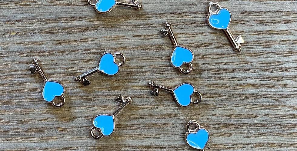 Key To My Heart Blue Enamel Charm...