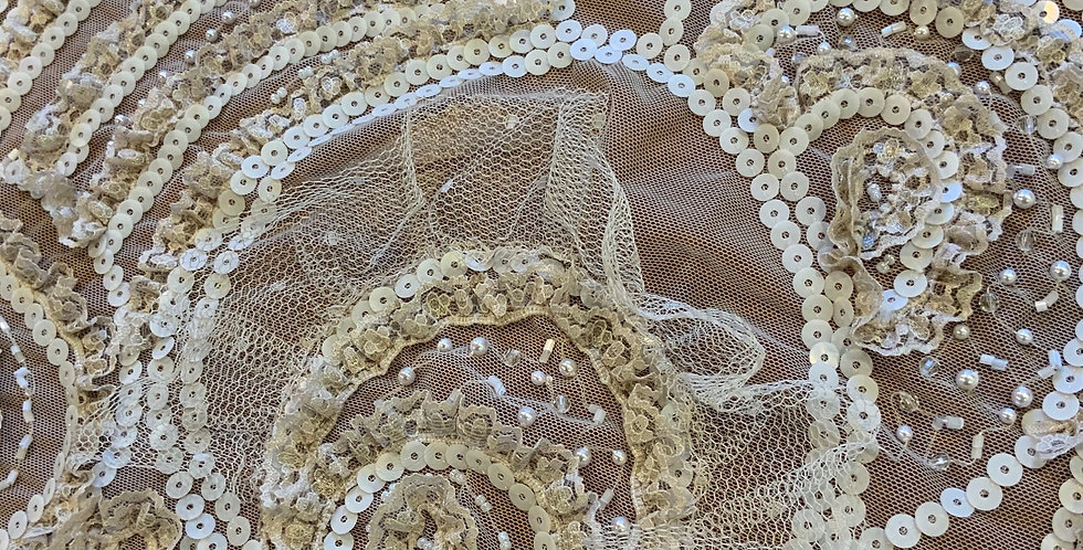 Latte Hand Dyed Beaded Tulle Piece G9...