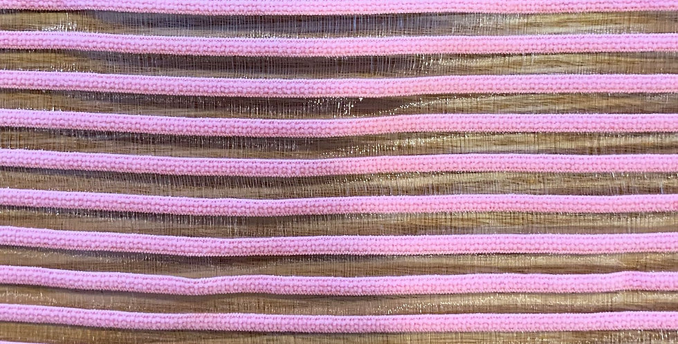 Bubblegum Pink Hand Dyed Sheer Stripe Strapping Elastic....