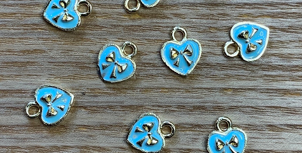 Mini Bow Hearts Blue Enamel Charm