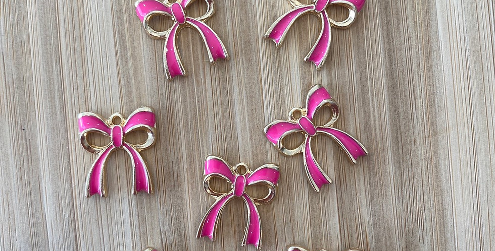 Bow charm hot pink