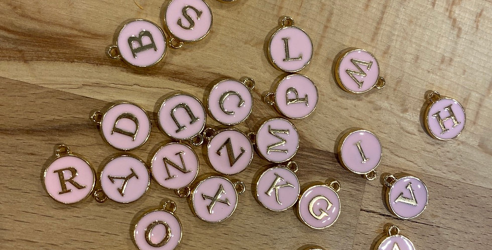 pale pink personalised letter charm