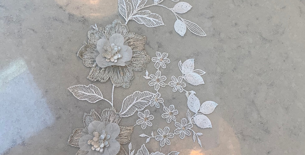 Ivory & Silver Embroidered Tulle Piece #736...