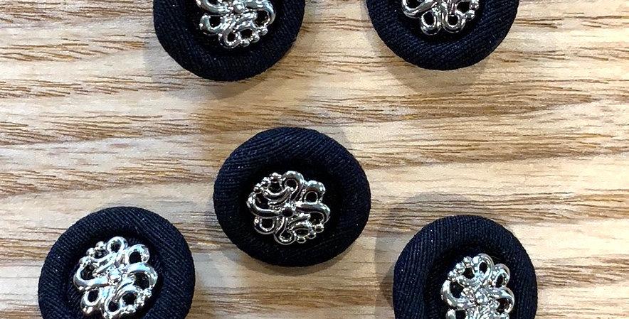 Paris Black Fabric 20mm Button