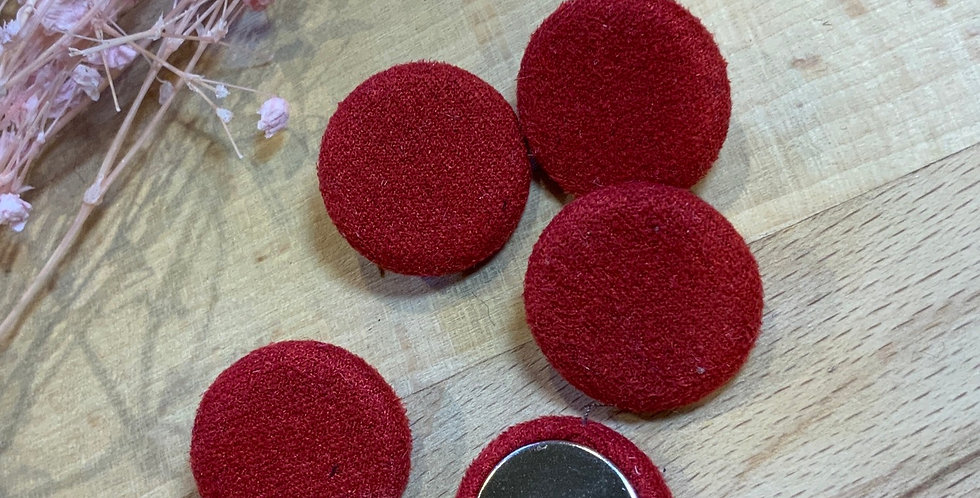 5 Red Sueded Cover Buttons