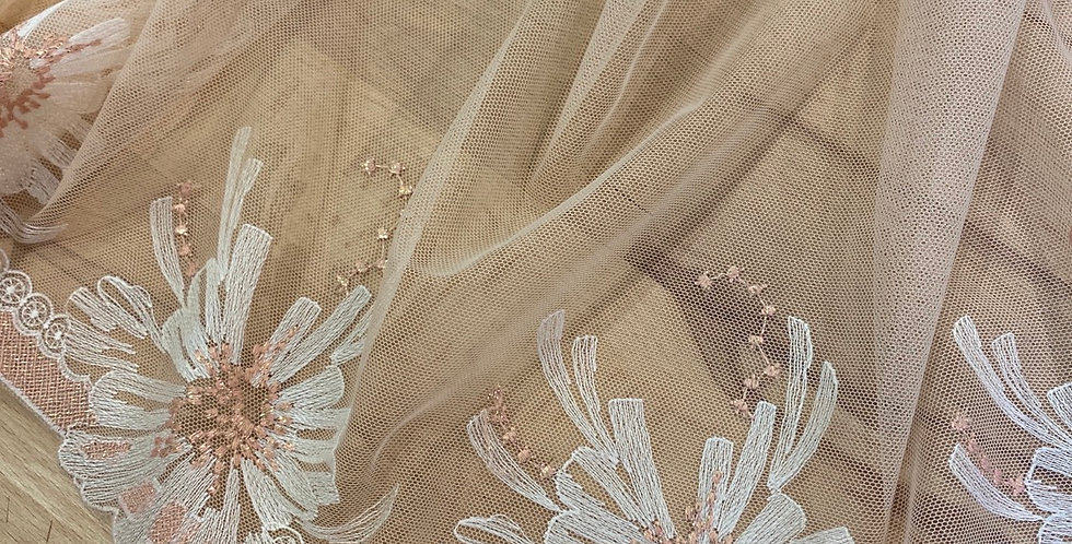lotus rose gold embroidered trim