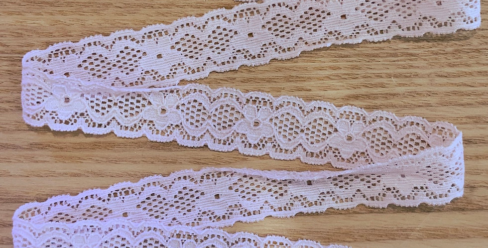 Pale Vintage Pink Hand Dyed Stretch Lace...