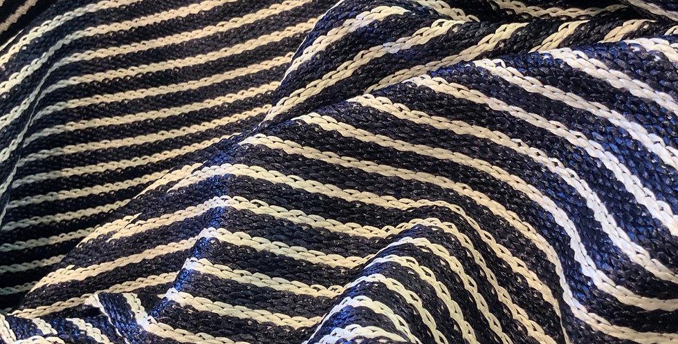 Riviera Navy Stripe Raffia Knit....