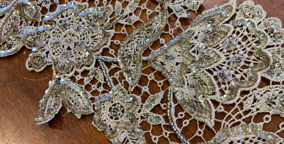 Old Gold & Bronze Hand Beaded Lace Piece #801
