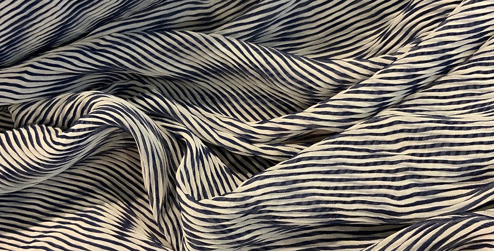 Navy Stripes Micro Pleat Georgette...