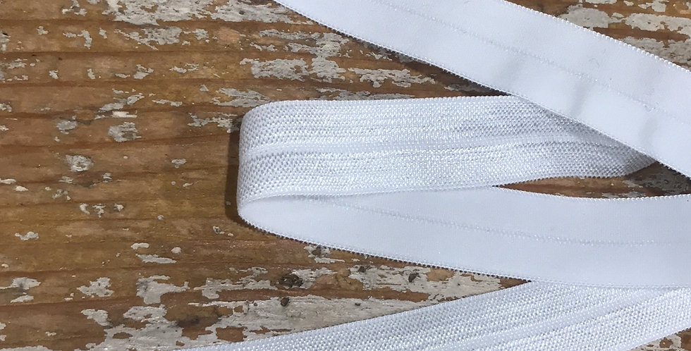 White satin 15mm foldover elastic