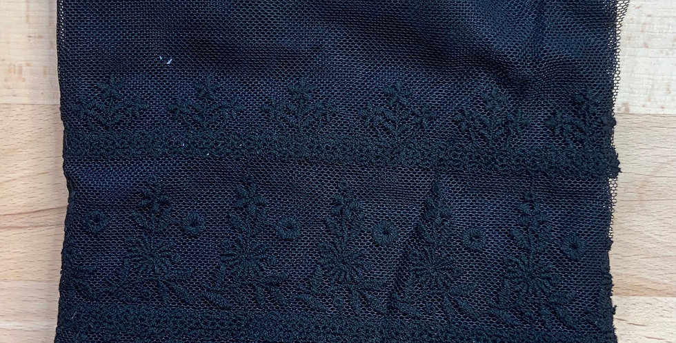 Black Enbroidered Mesh Lace..