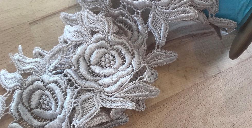 Pale mocha guipure rose lace