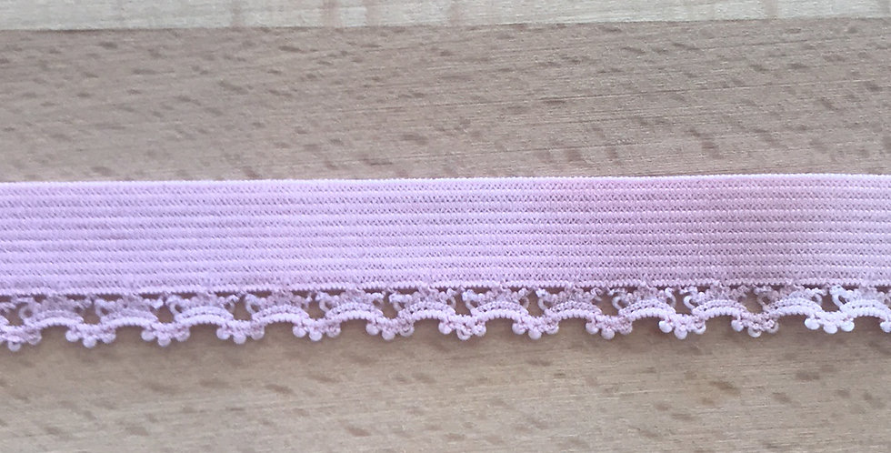 Pale Rose Hand Dyed Picot Elastic...