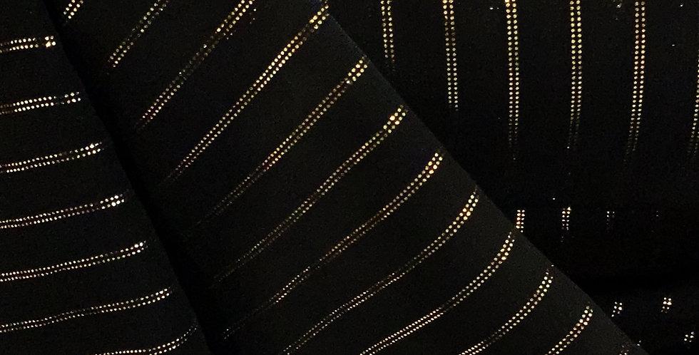 Metallic Gold Stripe Black Chiffon...