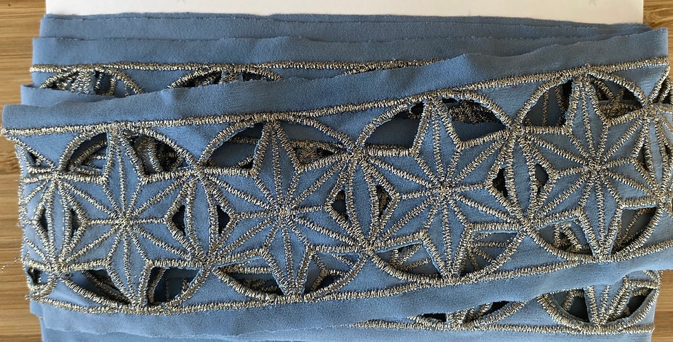 hand dyed embroidered lycra trim remnant
