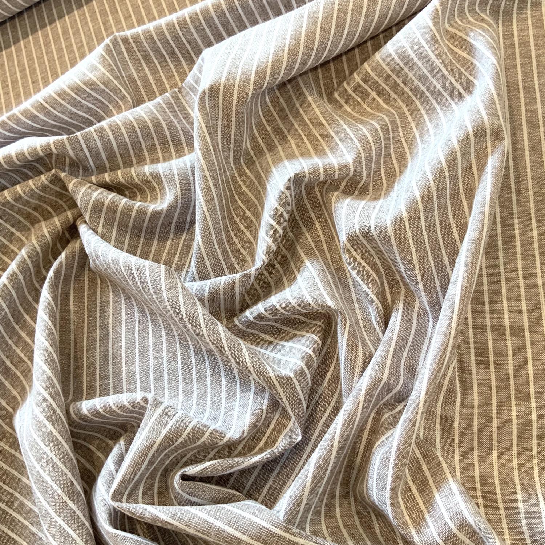 Thumbnail: Coffee Stripe Yarn Dyed  Linen Blend...