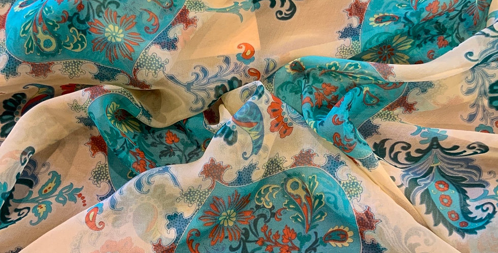 3mtrs Aqua Paisley Silk Chiffon Remnant