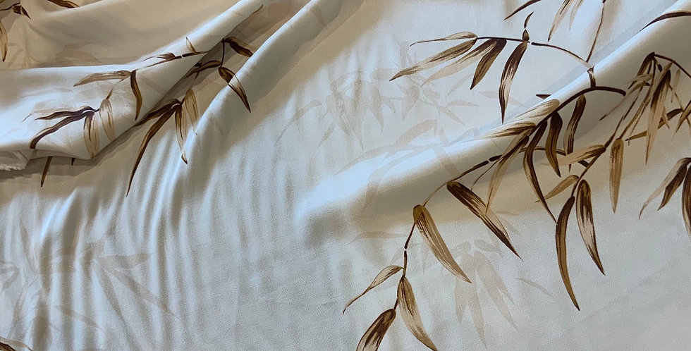 Cream Bamboo Leaves De-Lustred Viscose Satin...